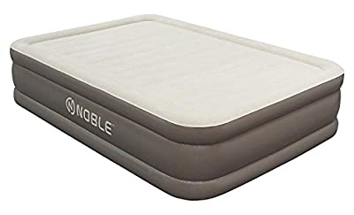 Noble Comfort DOUBLE HIGH Raised Air Mattress - Top Inflatable Airbed with Built-in Pump - Elevated Raised Air Mattress Quilt Top & 1-year GUARANTEE