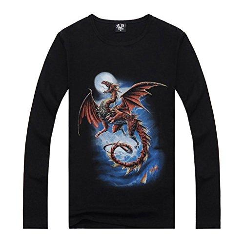 Red Dragon Printed Tee Men's Black Cool CrewNeck Long Sleeve Cotton T Shirt 2XL