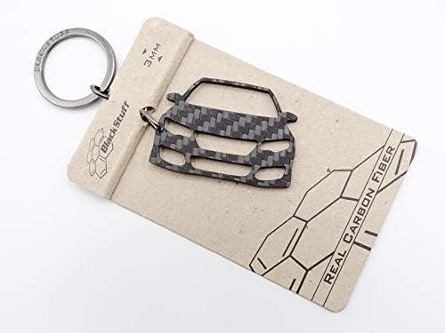 BlackStuff Carbon Fiber Keychain Keyring Ring Holder Compatible with Mazda 3 2013-2019 BS-760