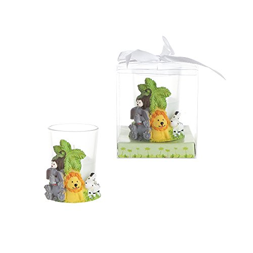(Lunaura Party Keepsake - Set of 12 Safari Jungle Animals Candle Set Favors For Birthday Parties, Special Celebrations, Toys, Elephant, Girls & Boys | Encased In A Clear Gift Box With Satin Ribbon)