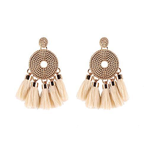 Eforstore Wooden Disc Tassel Earrings Simple Fashion Star with The Same Loose Tassel Earrings ()