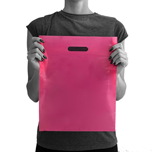 200 Pink Merchandise Bags 12x15 - 1.50 mil Extra Thick LDPE - Glossy Shopping Bag Plastic with Die Cut Handle - Medium Size - 100% Recyclable - TOP -