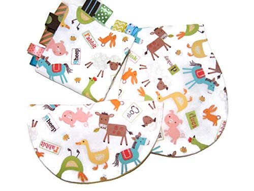 Farm Animal Themed Baby Gift Set Boutique Ribbon Burp Cloth