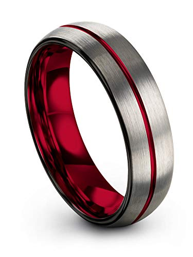Chroma Color Collection Red Interior with Red Center Line Dome Black Grey Brushed Polished Tungsten Carbide Wedding Band Ring 6mm for Men Women Comfort Fit Anniversary Size 13