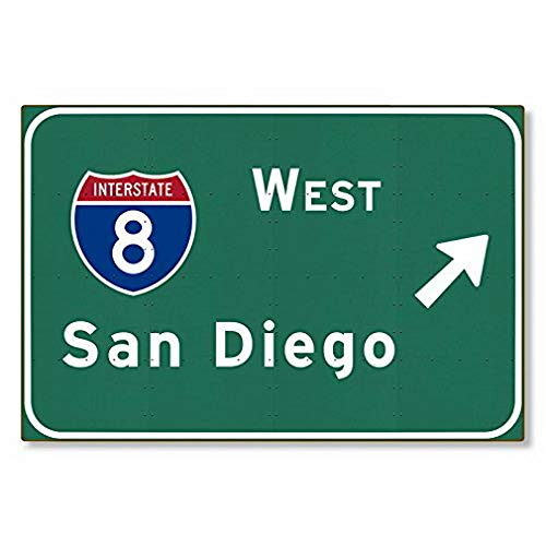Sylty San Diego I West Interstate California Metal Sign Novelty Highway Freeway Wall Decor Reproduction 12x16 inch Wall or Home Decor ()