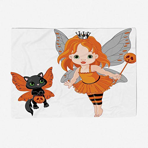 Soft Beautiful Throw Blanket Custom Design Cozy Fleece Blanket Perfect for Couch Sofa or Bed/78x49 inches/Halloween,Halloween Baby Fairy and Her Cat in Costumes Butterflies Girls Kids Room Decor Decor