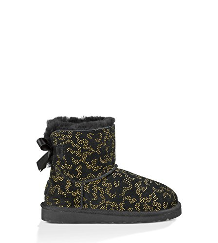 UGG Girls' Mini Bailey Bow Metallic Conifer Boot