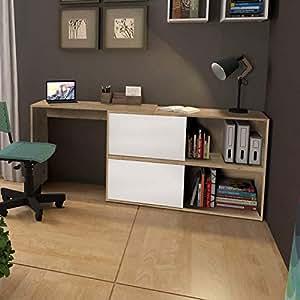 Mesa para Escritório com Armário 2 Portas Olimpo Siena Siena Móveis Natura/Branco