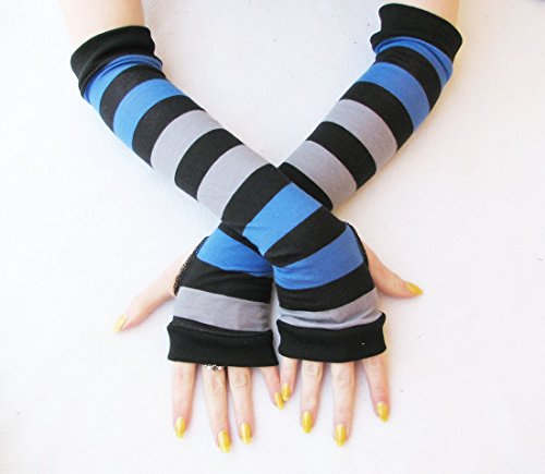 Dark Alice Stripes Arm Warmers Fingerless Gloves Blue Black Grey (Goth Cheshire Cat Costume)