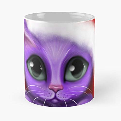 Kitty In Santa Hat Purple And Red Holiday - 11 Oz Coffee Mugs Ceramic The Best Gift For Holidays, Item Use Daily