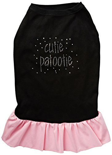 Mirage Pet Products Rhinestone Cutie Patootie 8-Inch Pet Dress, X-Small, Black with Pink