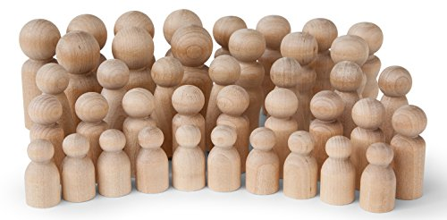(Koalabu Natural Unfinished Wooden Peg Doll Bodies - Quality People Shapes - Great for Arts and Crafts - Birch and Maple Wood Turnings - Artist Set of 40 in 5 Different Shapes and Sizes)