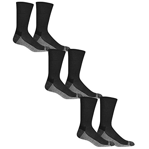 Fruit of the Loom Men's Essential 6 Pack Casual Crew Socks | Arch Support | Black & White, Black, Shoe Size: 6-12