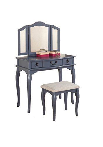 Poundex-Bobkona-Susana-Tri-fold-Mirror-Vanity-Table-with-Stool-Set-Gray