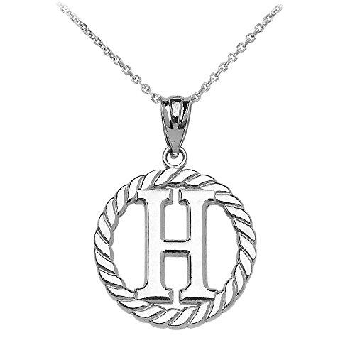 """Collier Femme Pendentif 925 Argent Fin """"H"""" Initiale À Corde Cercle (Livré avec une 45cm Chaîne)"""