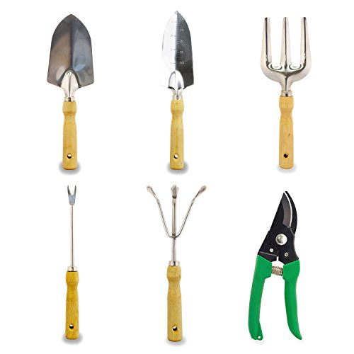 Gardenhome 7 piece garden tool set garden tool and tote for Gardening tools on amazon