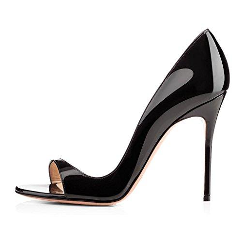Soireelady Women's High Heel Pumps Cut Out Open Toe Sandals 10cm Stilettos Wedding Dress Black US8 (4 Inch Stiletto Heel Slingback Sandal)