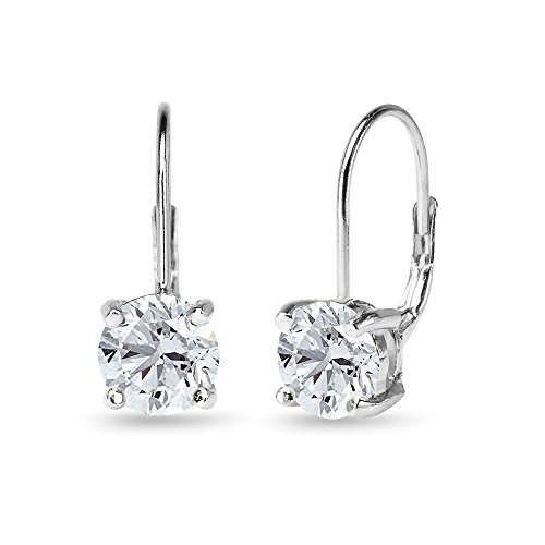 Sterling Silver Polished Created White Sapphire 7mm Round Dainty Leverback Earrings ()