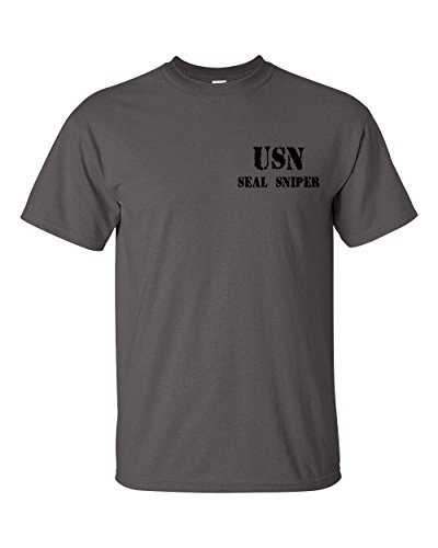 Jacted Up Tees Navy Seal Sniper Front and Back Men's T-Shirt -3XL Charcoal (1063)