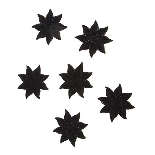 - 6pcs Black Embroidery Patches Badges Iron On Sew On Cloth Stickers Applique | Style - 3