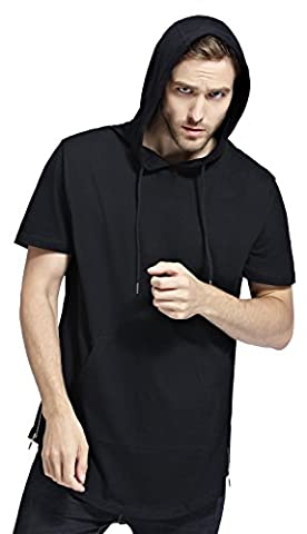 Bertte Mens Hipster Hip Hop Longline Curved Hem Short Sleeve Hoodie Zipper T-shirt , Solid Color Black, - Short Sleeve Zipper