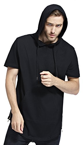 Bertte Mens Hipster Hip Hop Longline Curved Hem Short Sleeve Hoodie Zipper T-shirt , Solid Color Black, Large - Short Sleeve Hooded Tee