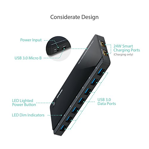 [2nd Gen]TP-Link 9-Port USB 3.0 Hub with 7 USB 3.0 Data Ports & 2 5V/2.4A Smart Charging Ports, Compatible with Windows, Mac, Chrome & Linux OS, Powered Hub with Power Adapter for USB Drive, External Hard Drive & More