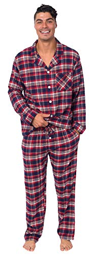 Striped Pants Flannel Pajama (PLATINUM SPORT Men's 100% Cotton Yarn-Dyed Flannel 2 Piece Pajama Set (Red/Navy Tartan Plaid, S))