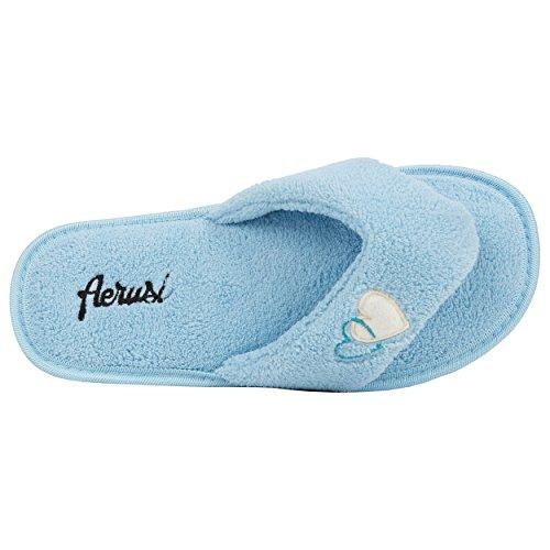 aerusi Mujer Zapatillas de Peluche de suave Spa Splash acogedor dormitorio Azul - azul celeste