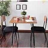 【やさしい木目とブラックスチールの組み合わせでおしゃれ】 カフェテーブル3点セット テーブル1つ×チェア2脚