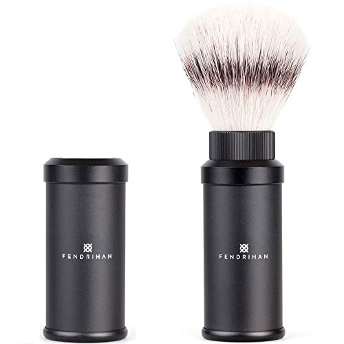 - Fendrihan Black Anodized Aluminum Travel Shaving Brush Synthetic Silvertip Fibre (Made in Germany)