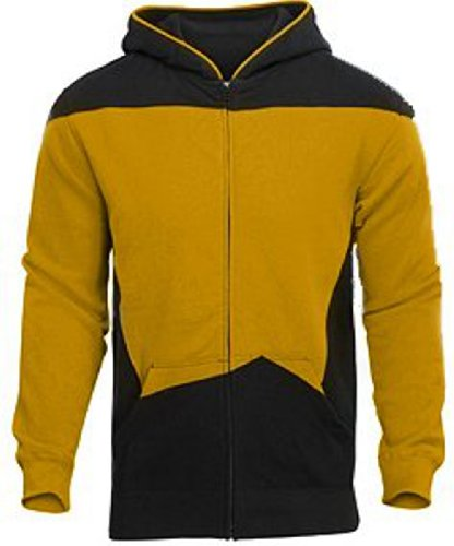 [Star Trek The Next Generation (TNG) Uniform Hoodie Adult or Child Costume - The Perfect Gift for that Star Trek Fan You Know and Love - (L, Gold] (Fan Costumes)
