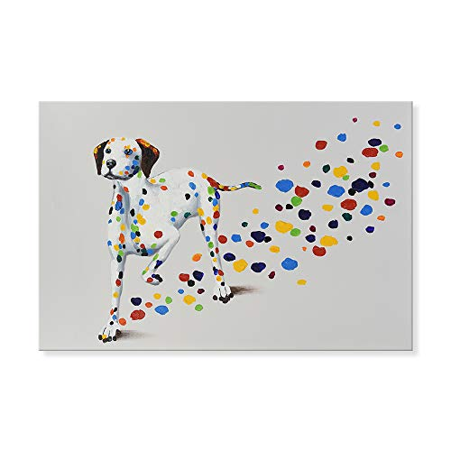 - SEVEN WALL ARTS - Modern Animal Dog Painting Colorful Dalmatian Puppy with Colorful Footprint Funny Dogs Artwork for Home Decor 24x36 Inch