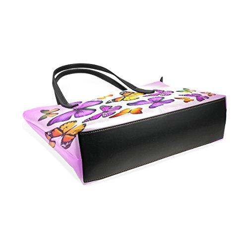 COOSUN Orange und lila Schmetterlinge PU Leder Schultertasche Handtasche und Handtaschen Tasche für Frauen