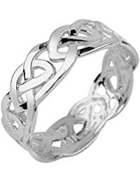Stunning Sterling Silver Celtic Wedding Band Trinity Knot Eternity Ring
