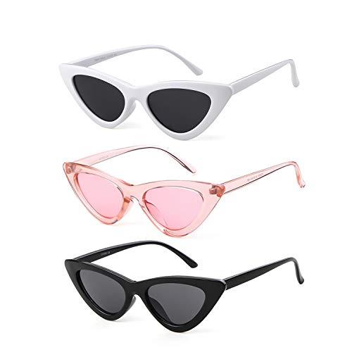 - Gifiore Retro Vintage Cat Eye Sunglasses for Women Clout Goggles Plastic Frame Glasses (Black&White&Pink, 51)