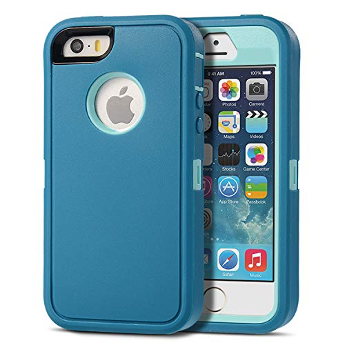 Armorzon iPhone SE Case,iPhone 5s Case,iPhone 5 Case, HeaviTek Defender Body Armor Dust Proof Heavy Duty Shockproof Rugged PC TPU Cover for Apple iPhone SE/5s/5 (Turquoise Blue) (Best Iphone Se Case For Kids)