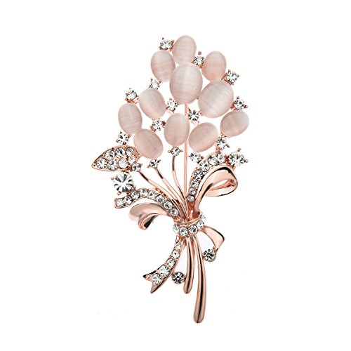 Floral Wrapped Gemstone - Lemoo Brooch Pin for Women (Floral)