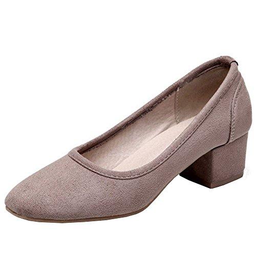 TAOFFEN Women's Fashion Block Mid Heels Pumps Shoes Court Shoes Shoes Khaki NteT2eFM