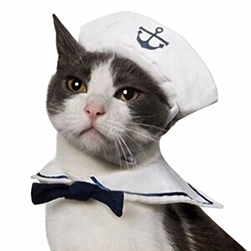 Hat Pet Costume - iEFiEL Cats Puppy Rabbit Pets Cute Sailor Little Captian Costume Outfit Hat & Cape Set