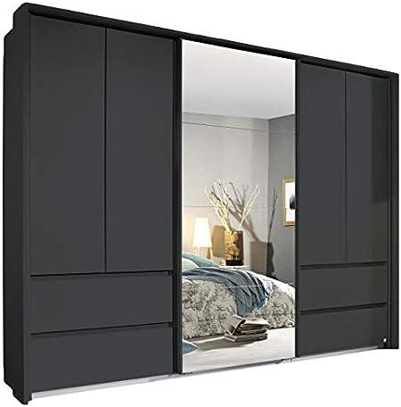 Armario con puertas giratorias y correderas, color gris, 5 puertas, 278 cm, para dormitorio juvenil, dormitorio juvenil, puertas giratorias