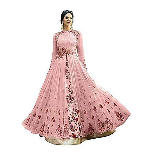 7de5ecf9db Varudi Fashion Women's Heavy Embroidered Work Bridal Gown and Anarkali  Dress (DB09_Pink_FreeSize)