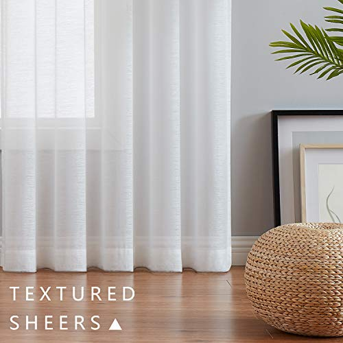 Sheer White Curtain Panels Living-Room 84 inch Long Window Drapes for Bedroom Set of 2