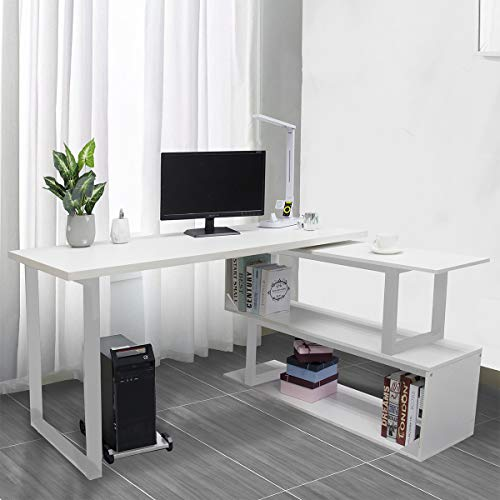 "Free Rotating Corner Desk – Bizzoelife 55"" L Shape Computer Writing Table Storage Shelf Workstation Sturdy Gaming (White)"
