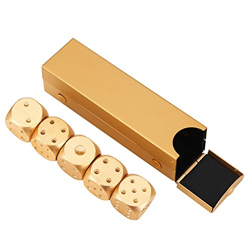 (VGEBY Dices Box Set with 5Pcs Dice Table Poker Game Set Entertainment Toy Gambling Dice Christmas Party Gifts(Gold-Rectangle Box))
