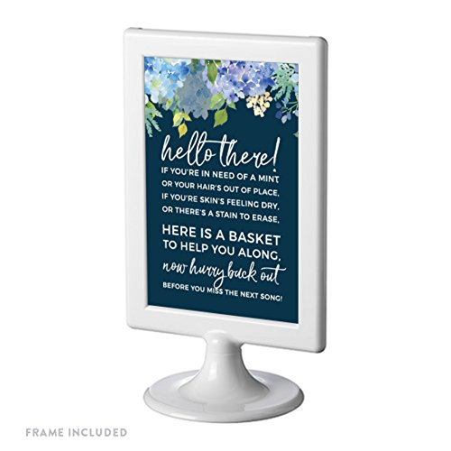 Andaz Press Navy Blue Hydrangea Floral Garden Party Wedding Collection, Framed Party Signs, Bathroom Basket Sign, 4x6-inch, 1-Pack, Includes Frame