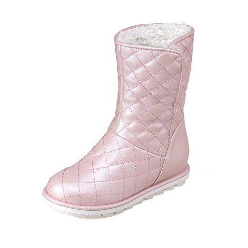 Allhqfashion Mujeres Pull On Round Closed Toe Low Heels Botas Sólidas Rosa