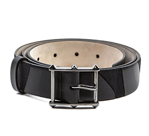 Wiberlux Valentino Men's Rockstud Detailed Buckle Camouflage Belt 90 Black