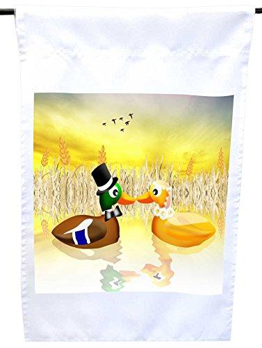 Rikki Knight Bride and Groom Ballad Ducks in Love on Pond...
