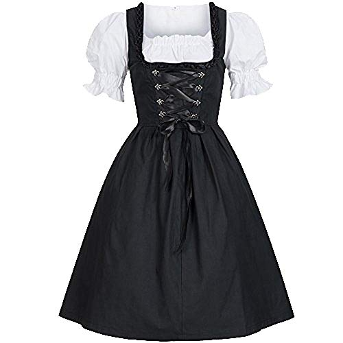 Womens Oktoberfest Halloween Costume Bavarian Beer Girl Dirndl Tavern Maid Dress (L, Black) ()